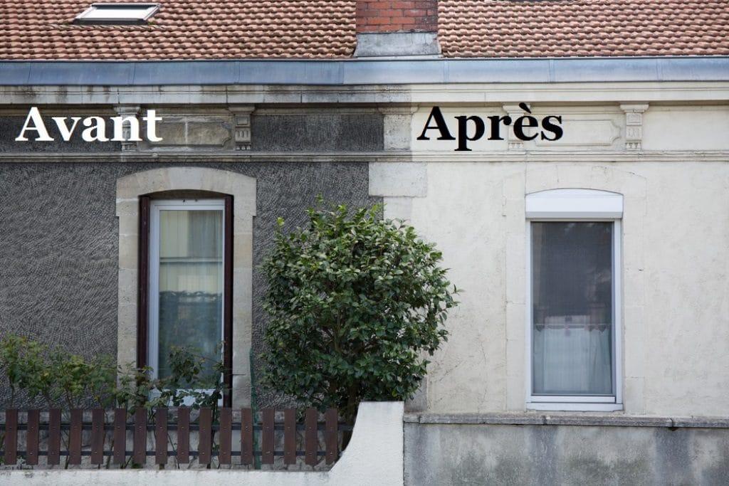 Nettoyage façade avant et après