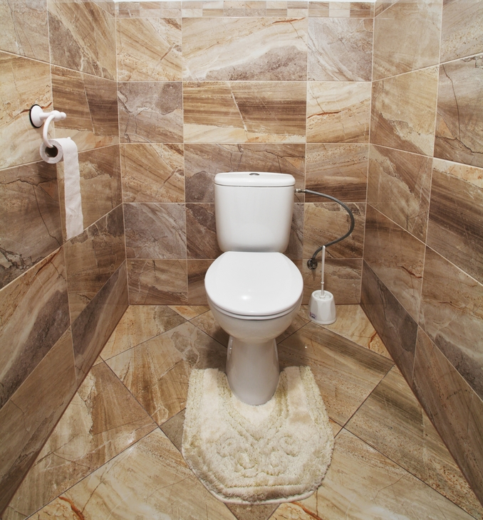 WC de luxe entièrement revêtu de carrelage marbre