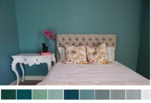 Palette de couleurs froides pour chambre à coucher