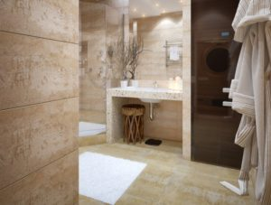 Carrelage travertin salle de bain