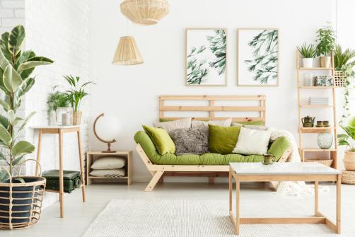 Decoration style scandinave-tropicale mixte