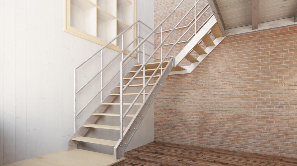 Escalier deux quart tournant metallique