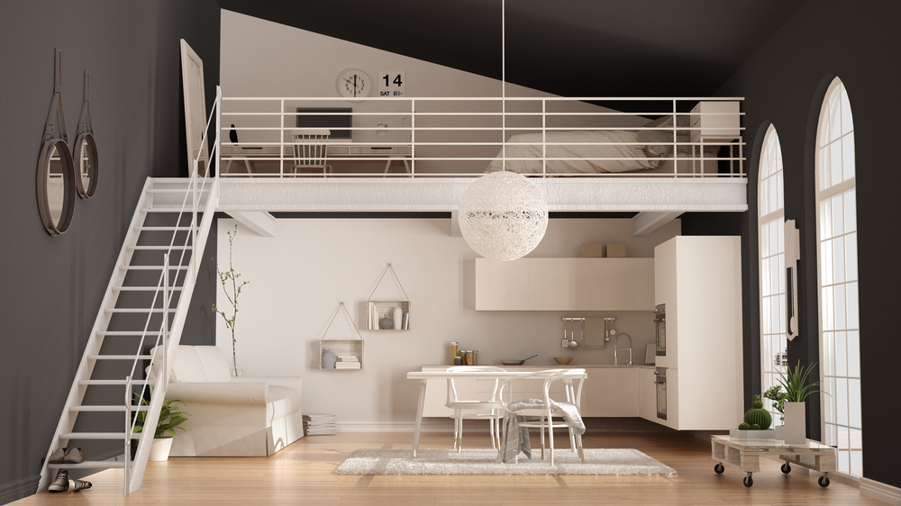 Escalier droit et mezzanine metalliques