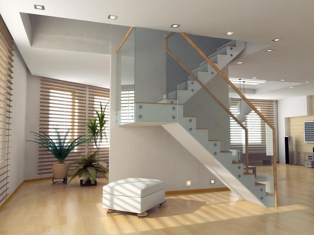 Escalier tournant bois-metal avec palier
