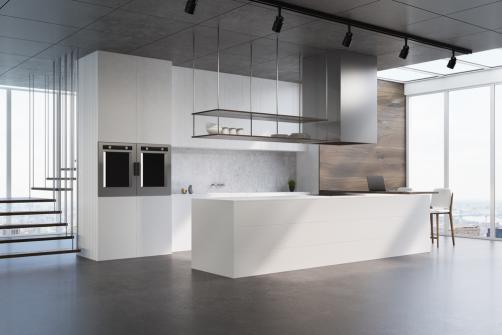 Sol de cuisine ouverte en beton