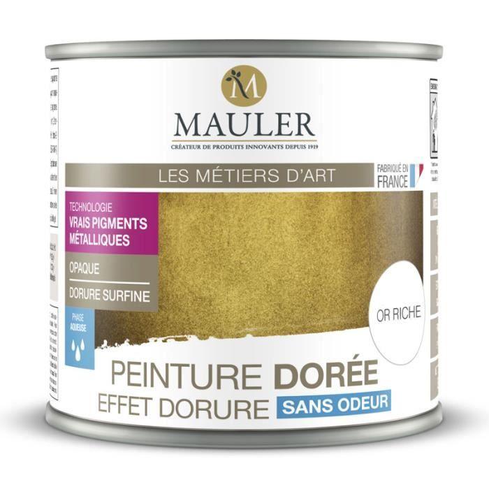 Peinture métallique effet or riche, cuivre, argent ou aluminium 0,5L : intérieur et extérieur, sans odeur - Effet Or Riche - 0,5L