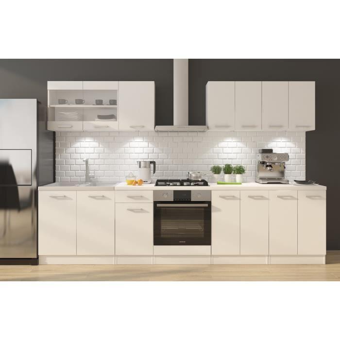 ULTRA Cuisine complète avec meuble four et plan de travail inclus L 300 cm - Blanc mat