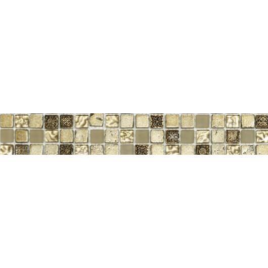 Listel en pate de verre et carrelage - 5 x 30 cm - Beige