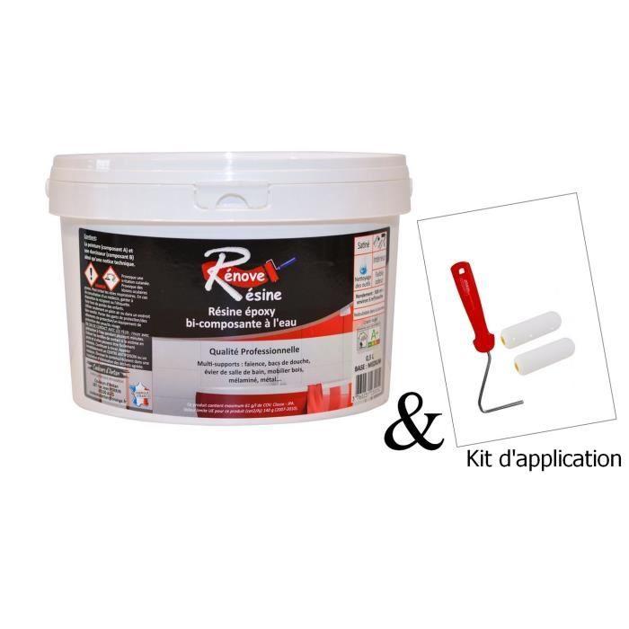 Peinture Résine 0.5L - Multisupport RAL 9010 - Blancpur - Faïence, Carrelage, Douche, Baignoire - Kit d'application