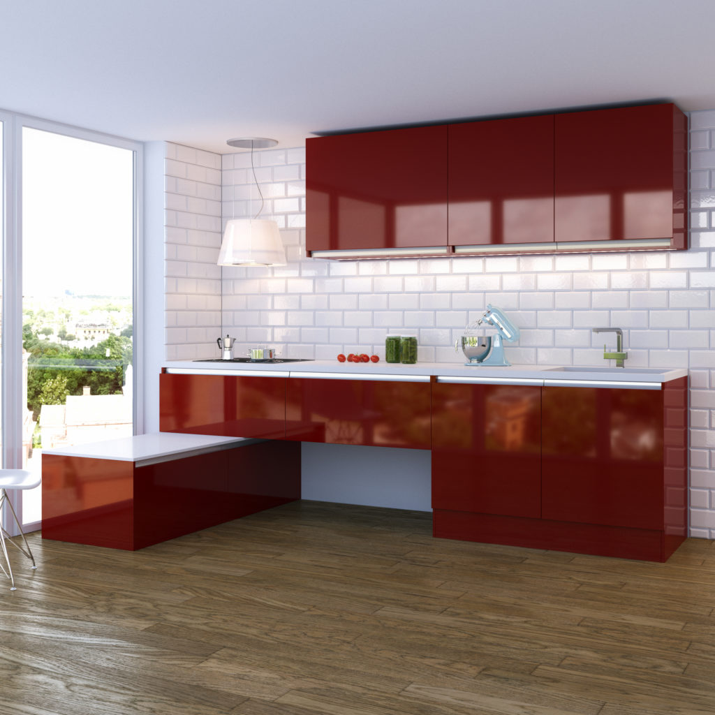 cuisine-rouge-carrelage-métro