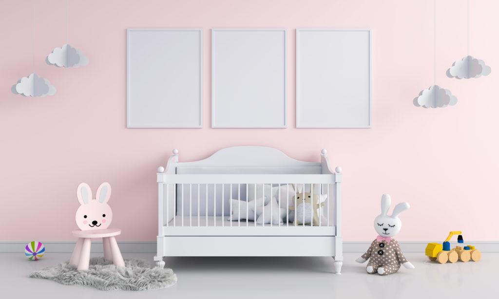 chambre-bébé-grise-rose