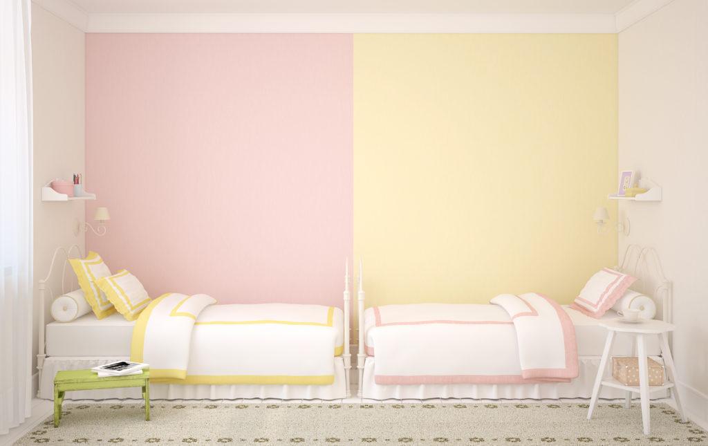 chambre-enfant-rose-jaune