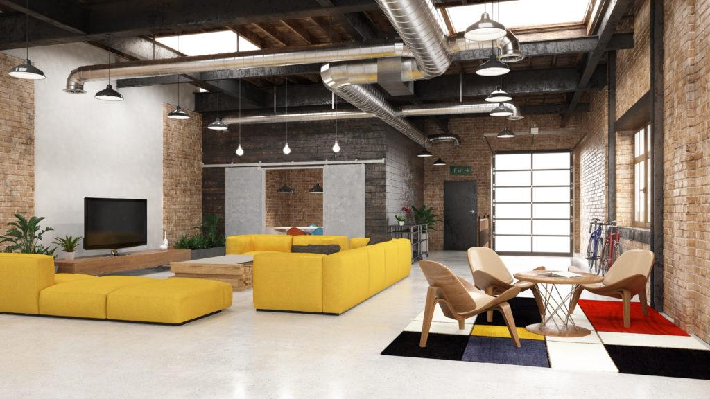 loft-industriel-séjour-coloré