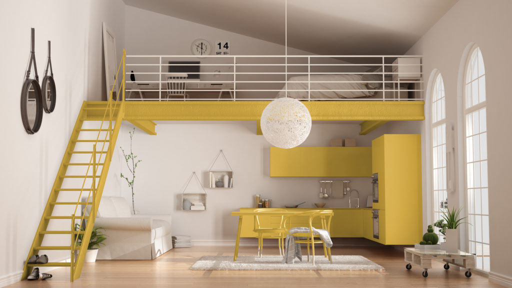 kitchenette-jaune-studio