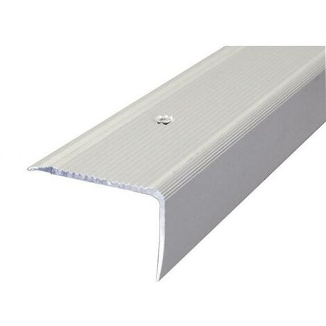 Nez de marche striés métalliques 44 V 3.00 ml X 50 mm Percé- Dinac